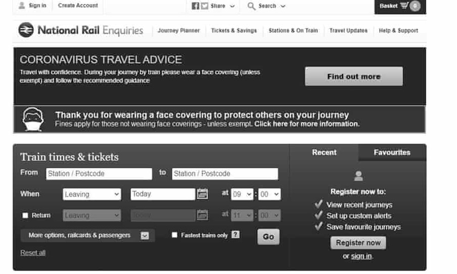 A screenshot of Network Rail's website. The website has no colour and is in complete greyscale.